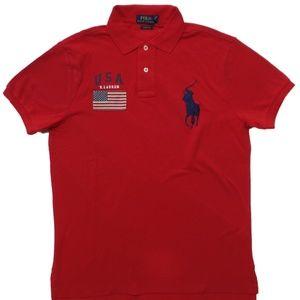 Ralph Lauren Big Pony USA Flag Polo Shirt Red